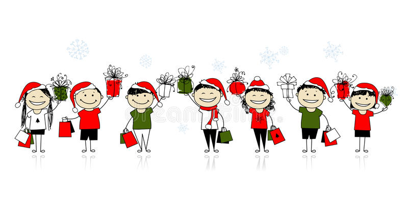 Download Christmas Shopping With Friends Stock Photography - Image: 22097672