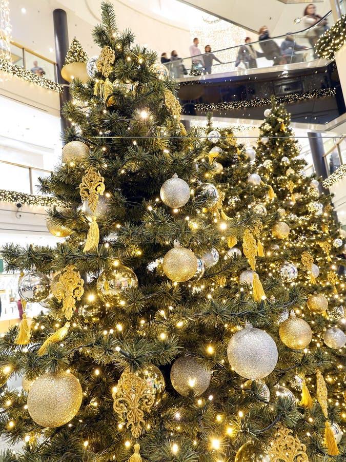Christmas shopping mall stock photo
