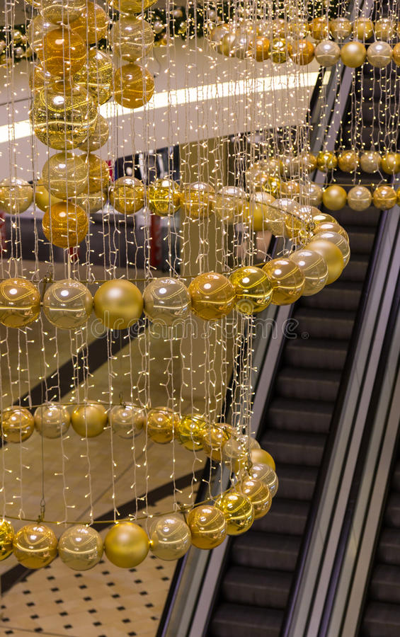 Christmas shopping mall decorations stock images