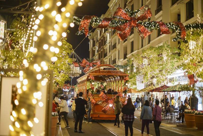 Christmas at shopping mall, Glendale Galleria. DEC 16, Glendale: Beautiful tram and Christmas lights at the shopping mall on DEC 16, 2017 at Glendale stock images