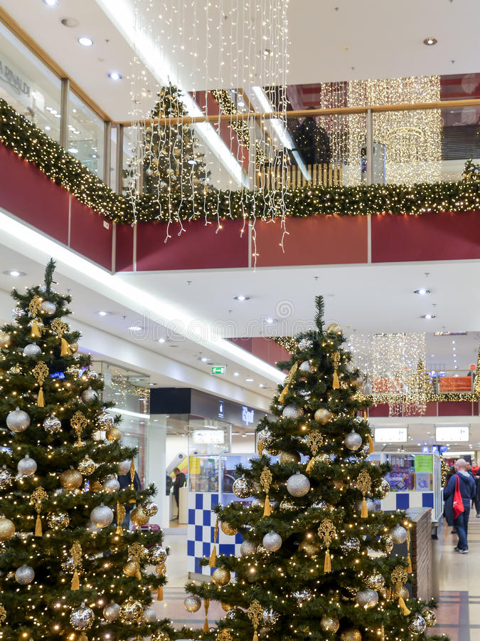 Christmas shopping mall royalty free stock photography