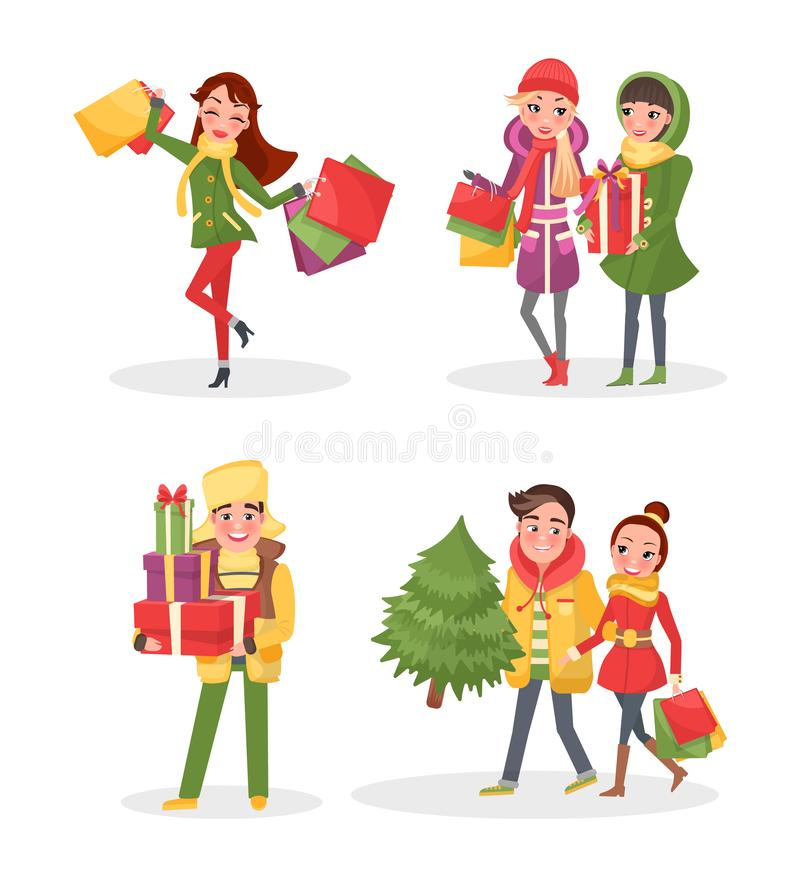 Christmas Shopping People with Packages and Pine. Vector. Couple of man and woman carrying spruce tree home. Female friends shoppers with paper bags royalty free illustration