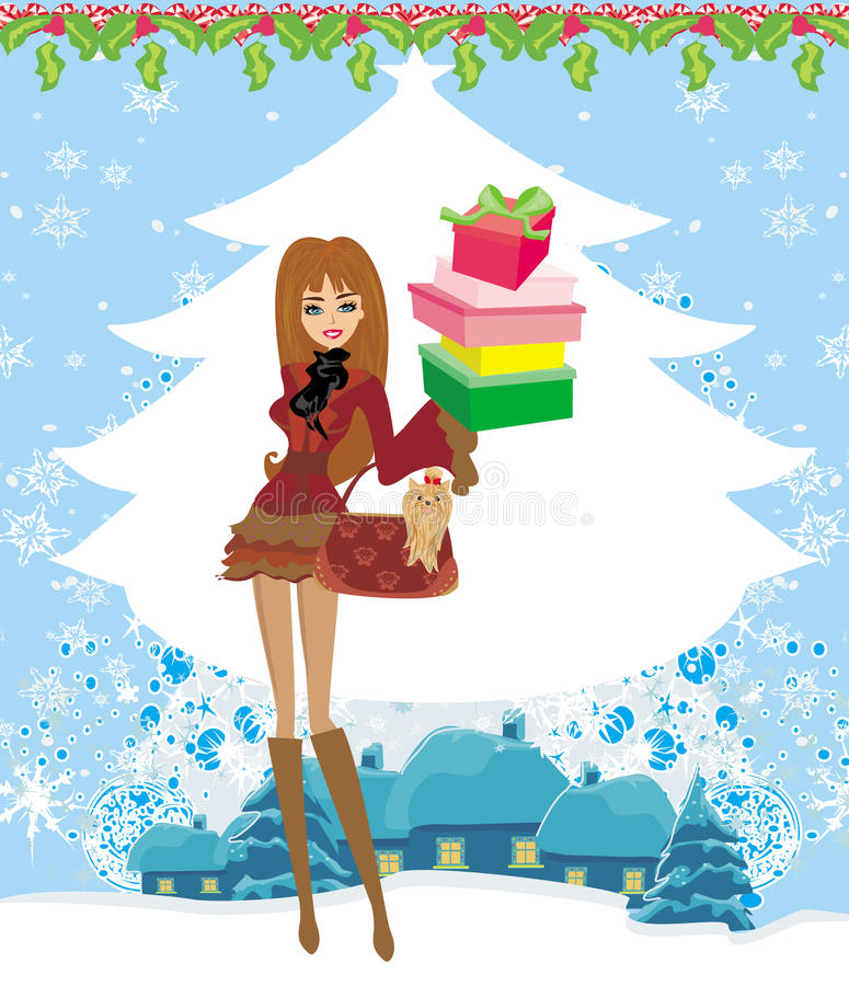 Christmas shopping on a snowy day stock illustration