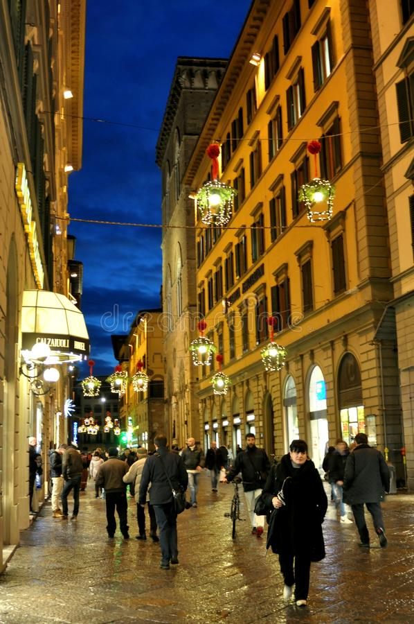Christmas shopping on the streets of Italy stock image