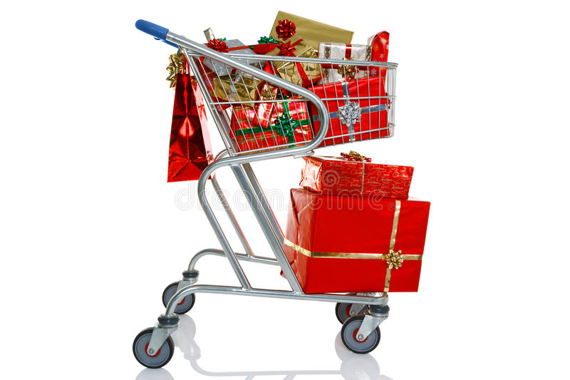 Christmas shopping trolley royalty free stock photos
