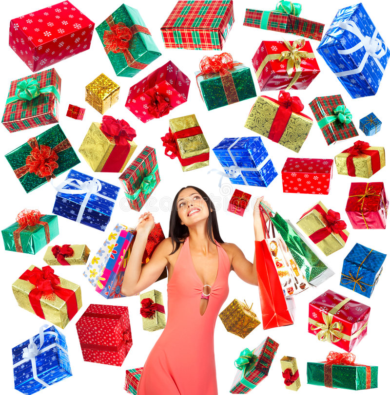 Download Christmas Shopping  woman stock image. Image of boxes - 7098787