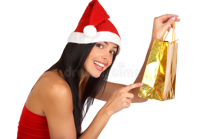 Christmas Shopping woman royalty free stock image