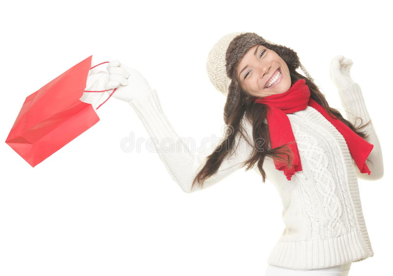 Christmas shopping woman with gift bag royalty free stock photos