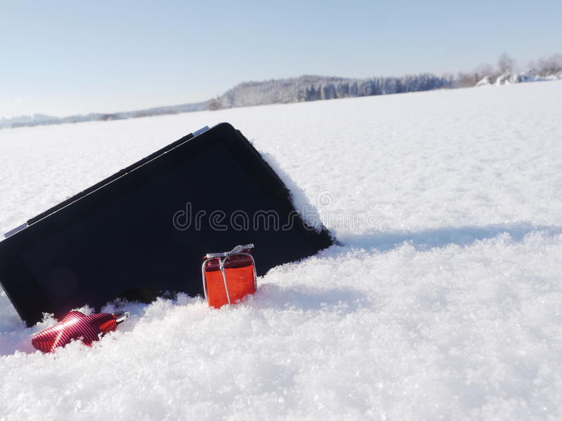 Christmas shopping. Christmas xmas shopping with digital tablet outside royalty free stock photography