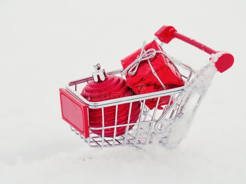 Christmas shopping. Christmas xmas shopping outside with real snow stock photos