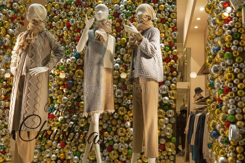 Christmas show window in Milan stock images