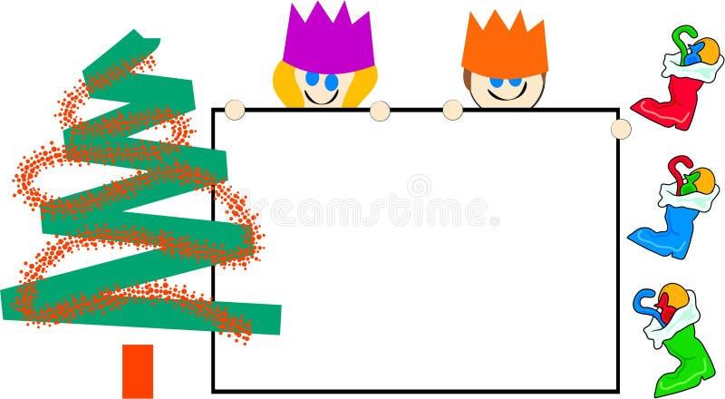 Christmas sign kids stock photo