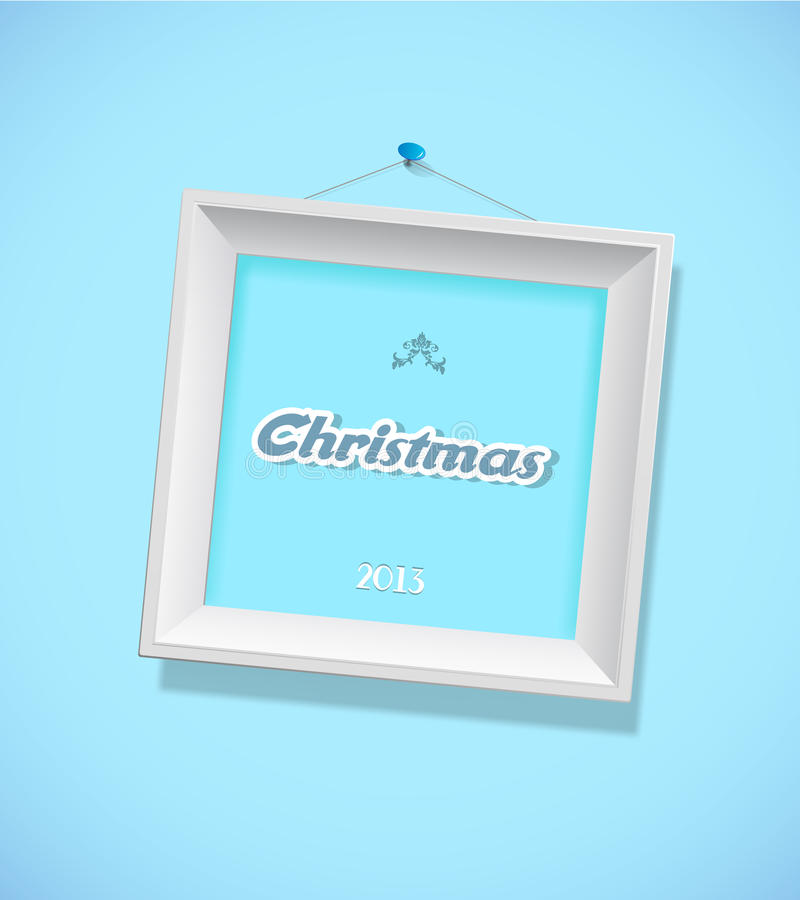 Christmas sign with picture frame. Vector art vector illustration