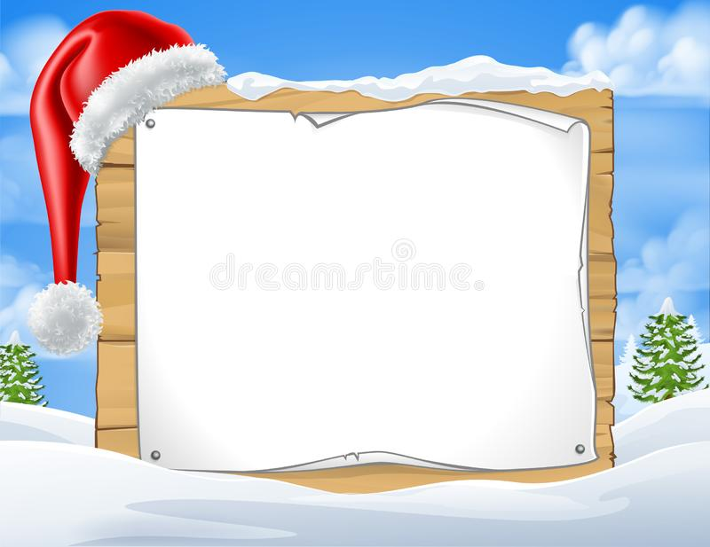 Christmas Sign Santa Hat Winter Snow Scene. A Christmas sign with a Santa Claus hat in a winter snow landscape scene vector illustration