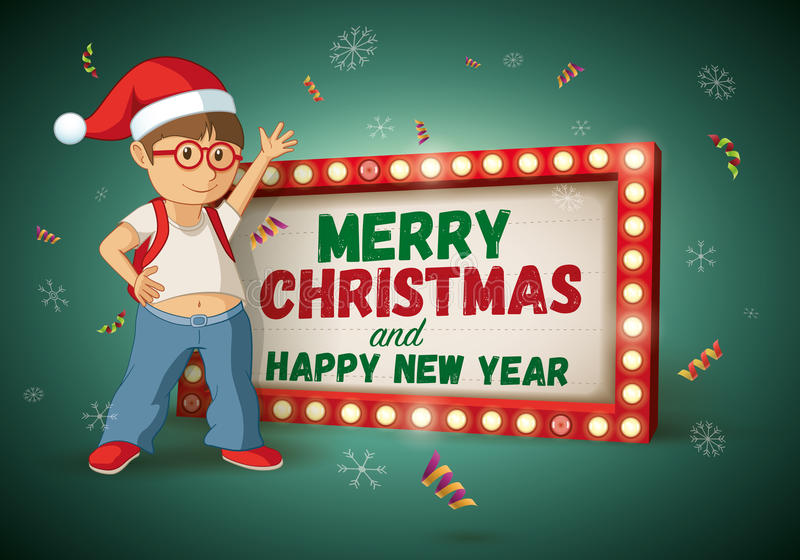 Christmas Signboard and Santa kid. Kid with santa hat and Christmas and new year message light signboard. Vector illustration stock illustration