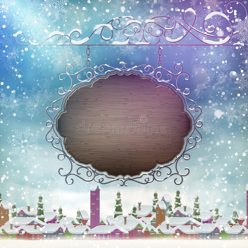 Christmas signboard template. EPS 10. Winter landscape with a wooden Christmas signboard. EPS 10 vector file included royalty free illustration