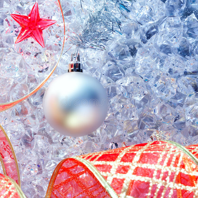 Download Christmas Silver Bauble And Red Ribbon On Ice Stock Image - Image of celebrate, night: 21386009