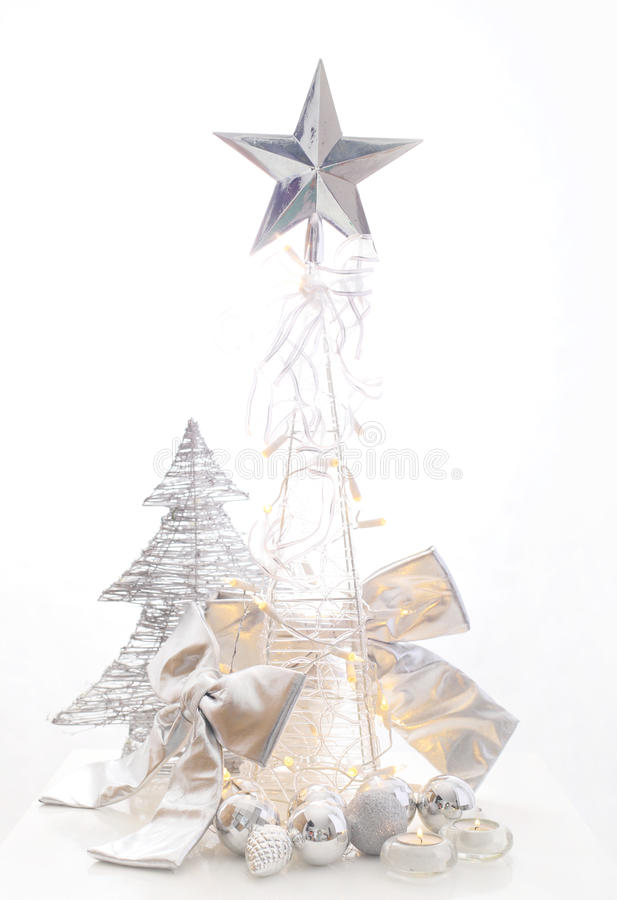 Christmas silver decoration stock images