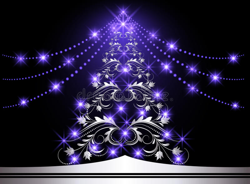 Download Christmas silver fur-tree stock vector. Image of garland - 17040621