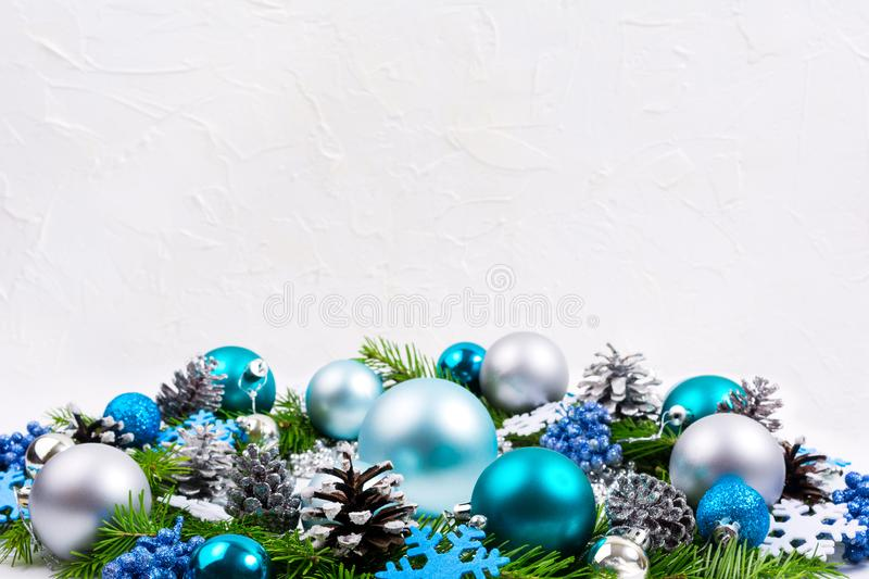 Christmas silver, pale blue, turquoise balls, glitter berries ba stock photo