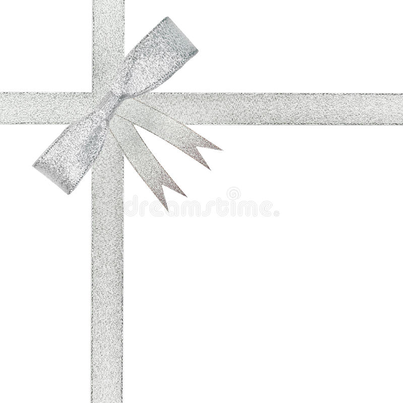 Christmas silver ribbon and bow. Isolated royalty free stock image