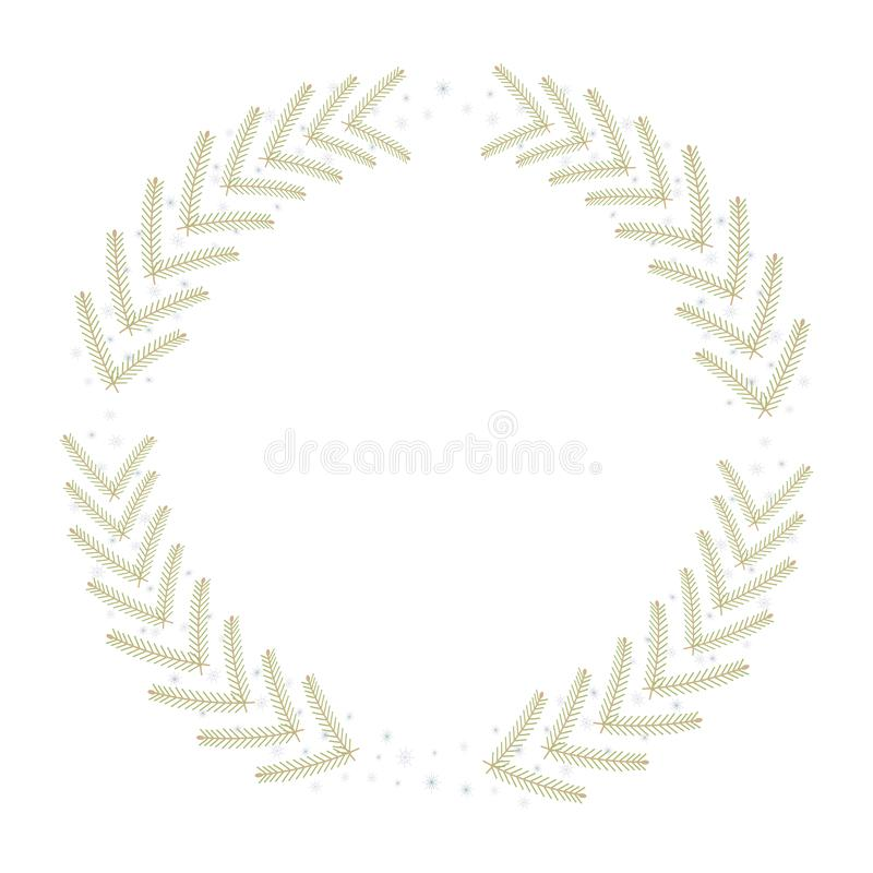 Christmas simple circle wreath with green-yellow branches of fir-tree and blue snowflakes and isolated vector on white background. vector illustration