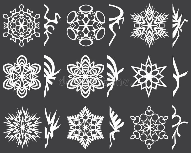 Christmas six-pointed snowflakes. Cutting instruction. For decor. royalty free stock image