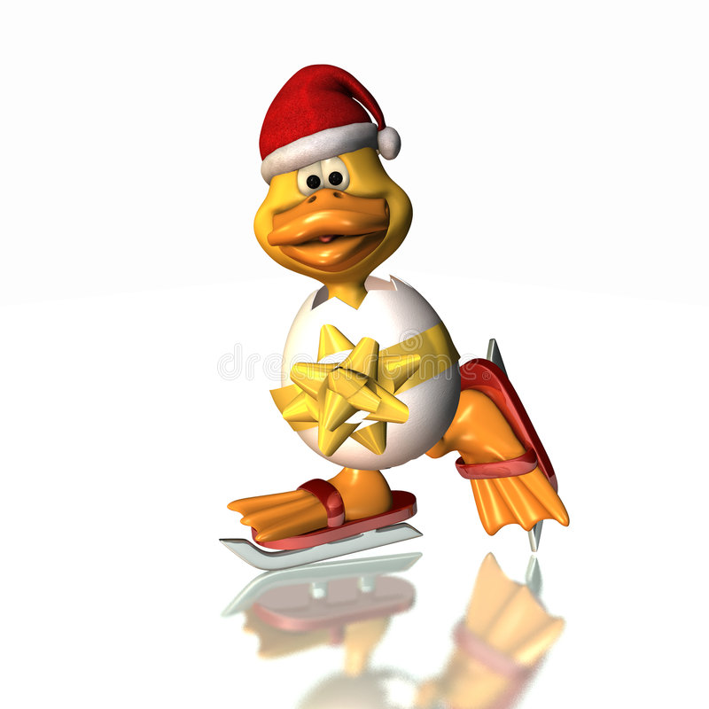 Free Christmas Skating Duck 2 Stock Photography - 3738592