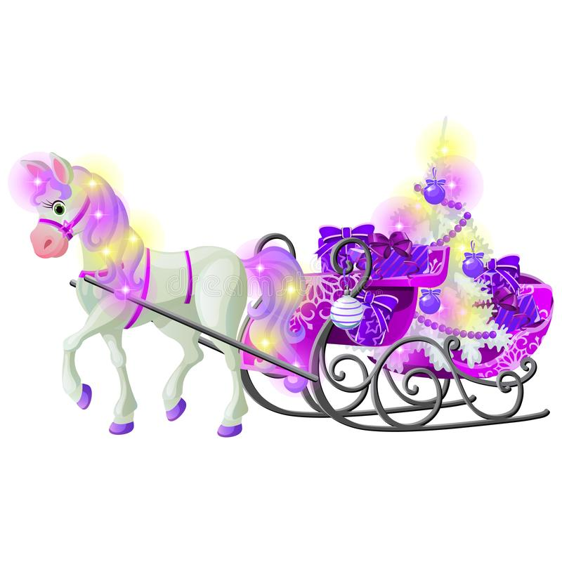 Christmas sketch with animated horse with a pink mane and hooves with a sleigh filled with gift boxes and baubles vector illustration