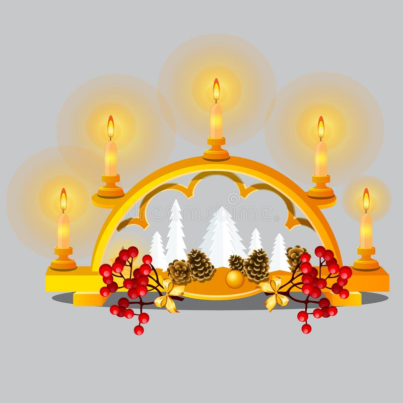 Christmas sketch with burning candles in golden candle holder with festive decorations and baubles in oriental style royalty free illustration