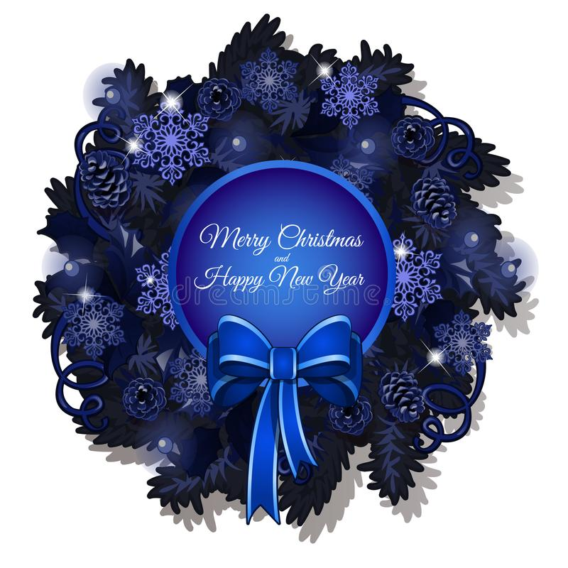 Christmas sketch with a Christmas wreath in blue color with space for your text. Sample of the poster, invitation and stock illustration