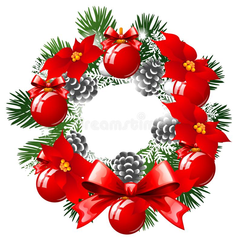 Christmas Sketch With Wreath Of Fir Twigs Decorated With Red Baubles And Glass Balls, Pine Cones And Flowers Of royalty free illustration