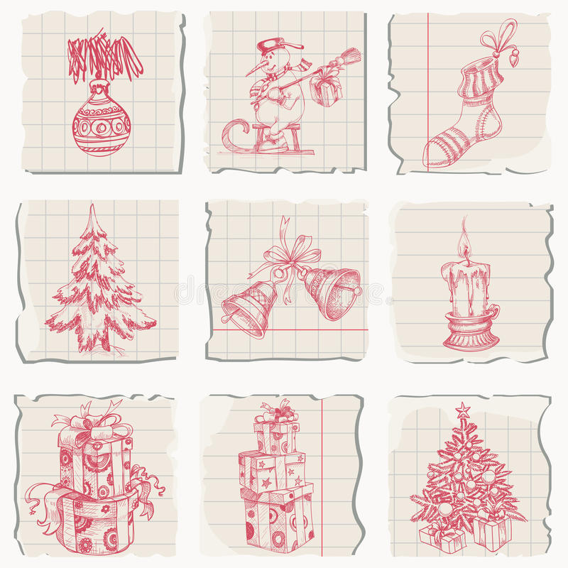 Download Christmas sketched icons stock vector. Image of christmas - 21947700