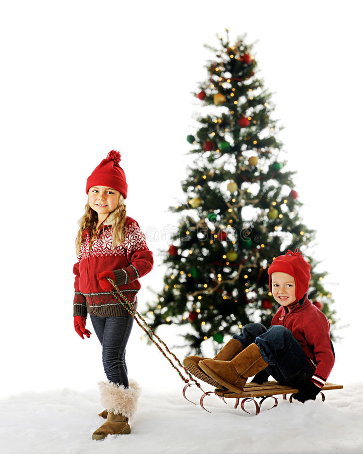 Download Christmas Sled Kids stock image. Image of sister, white - 22339141