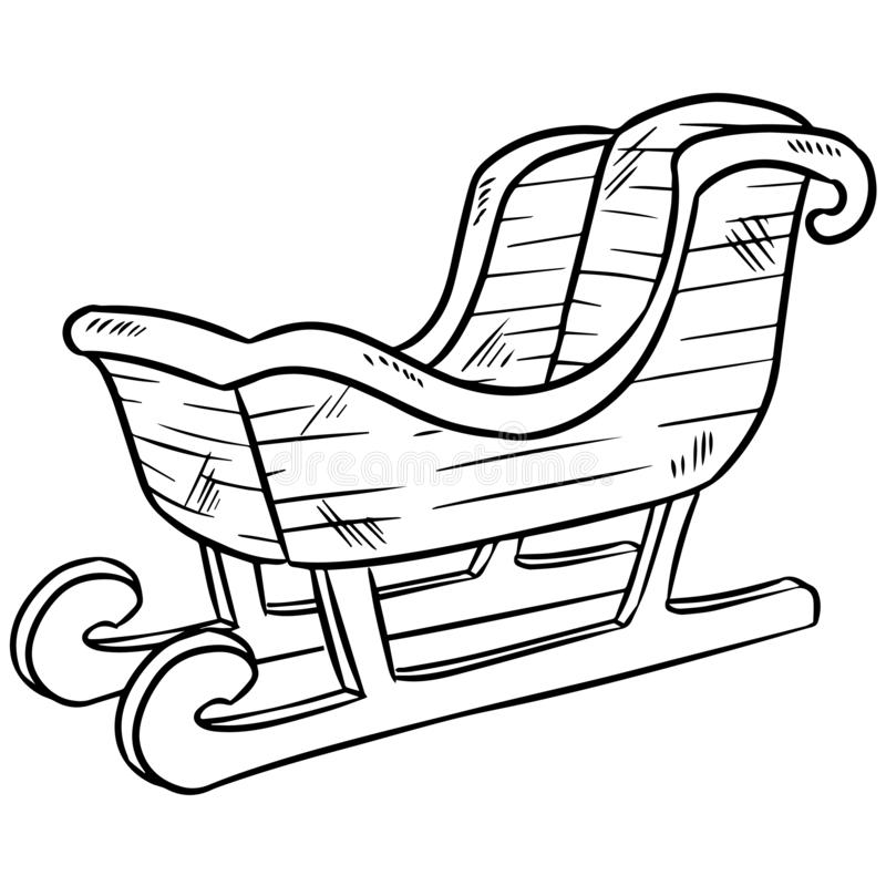 Christmas sleigh doodle. Isolated sketch for coloring stock illustration