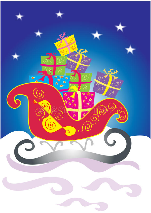 Christmas sleigh with gifts. A vector cartoon illustration of a snowy Christmas scene with a decorative red sleigh packed with different colored gift boxes vector illustration