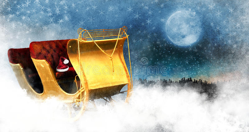 Download Christmas Sleigh stock illustration. Image of moon, santa - 32387271