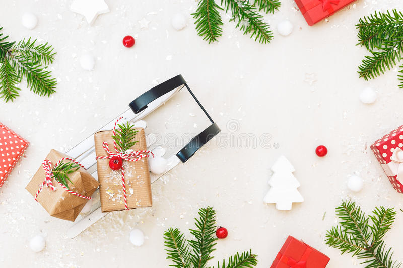 Christmas sleigh with presents and ornaments stock photos