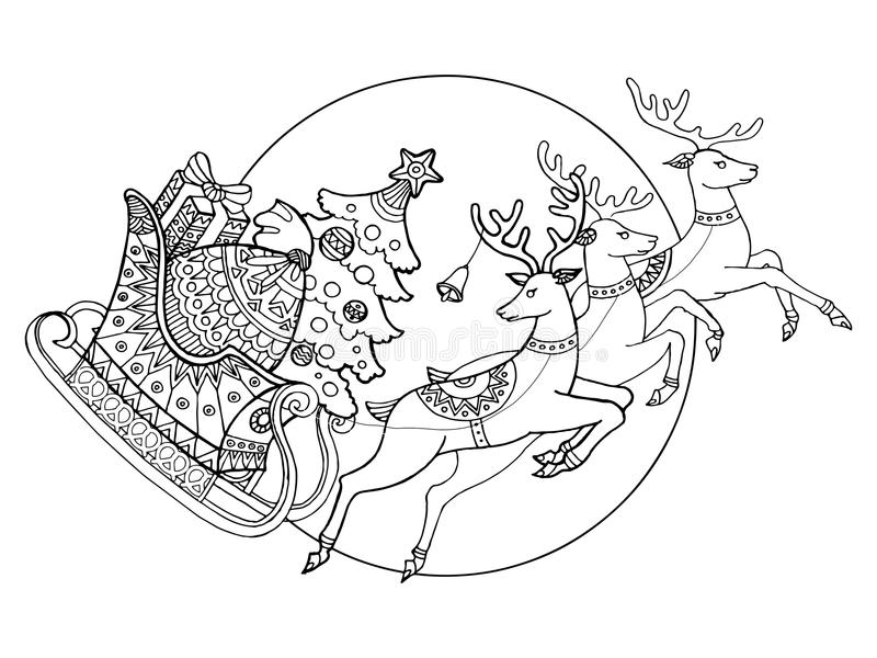 Christmas sleigh with reindeers coloring vector royalty free illustration