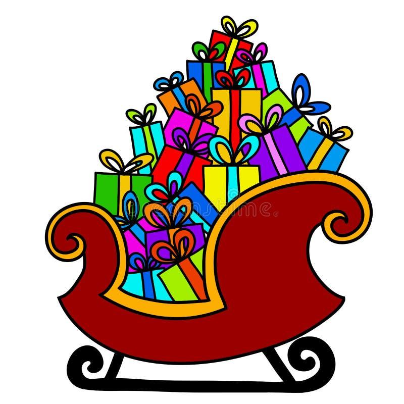 Christmas sleigh of santa claus vector illustration