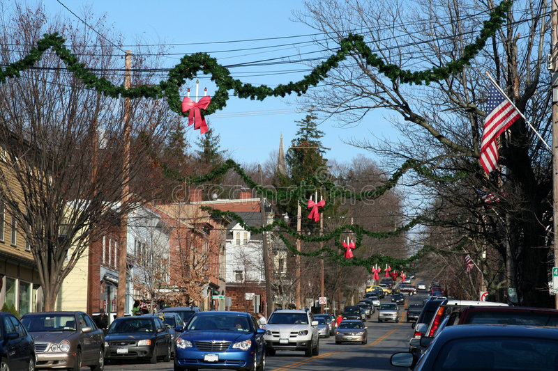 Christmas in Small Town USA. A small town in Putnam County, NY decorated for Christmas stock photography