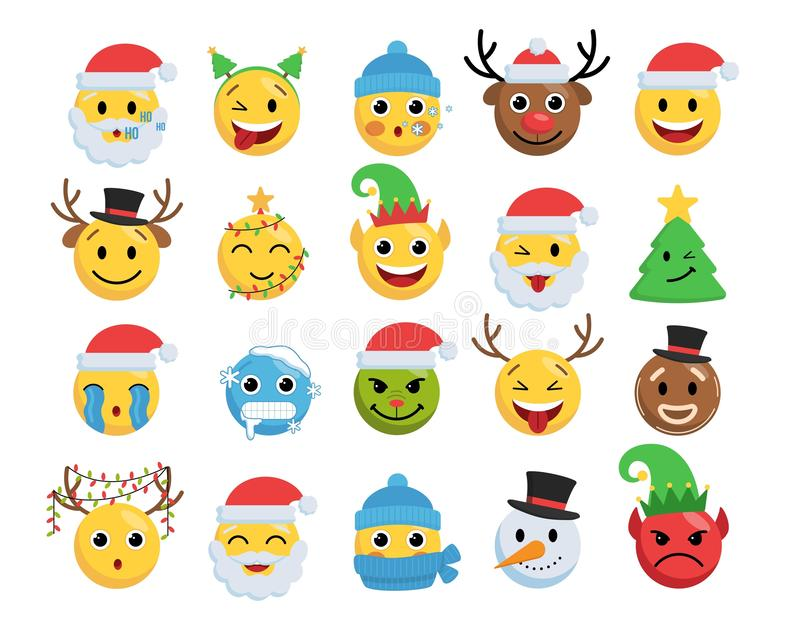 Christmas smile faces vector set vector illustration