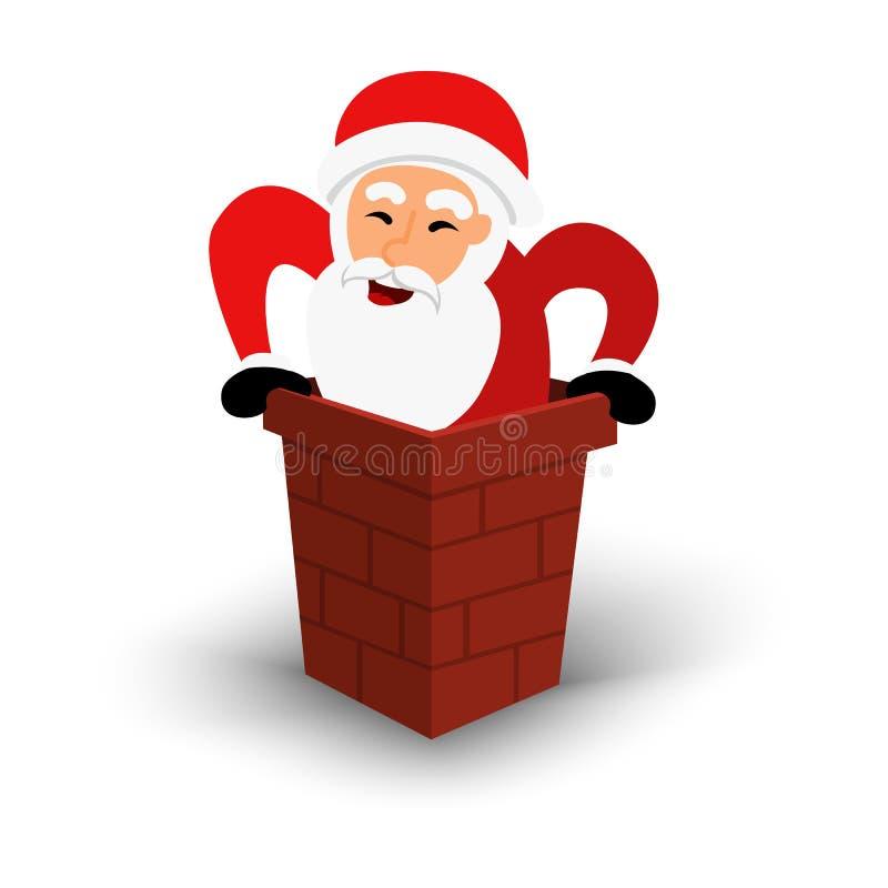 Christmas smiling Santa Claus character in chimney. Cartoon happy bearded man in festive costume Santa Claus. Vector stock illustration
