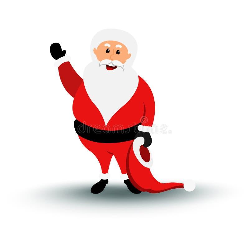 Christmas smiling Santa Claus character say Hello. vector illustration