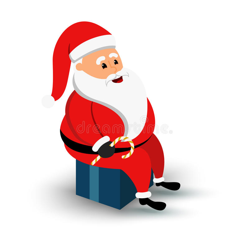 Christmas smiling Santa Claus character sitting on a blue big gift box. Cartoon bearded man in festive costume. xmas vector illustration