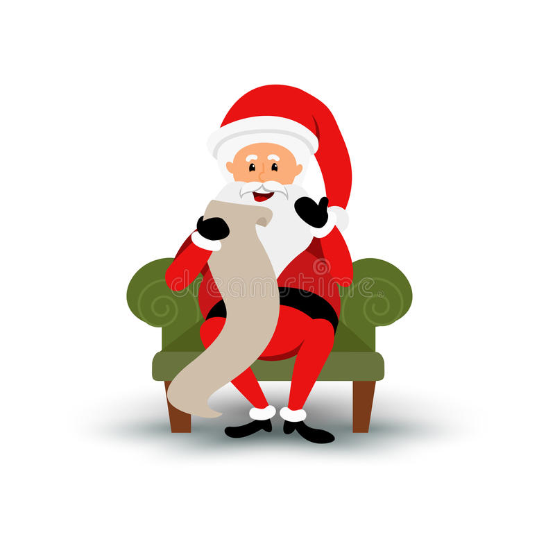 Christmas smiling Santa Claus character sitting on a chair and read a long letter. Cartoon bearded man in festive stock illustration