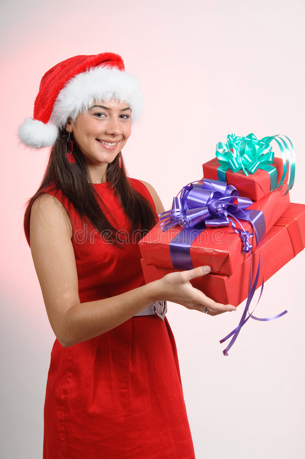 Christmas smilling girl royalty free stock photos