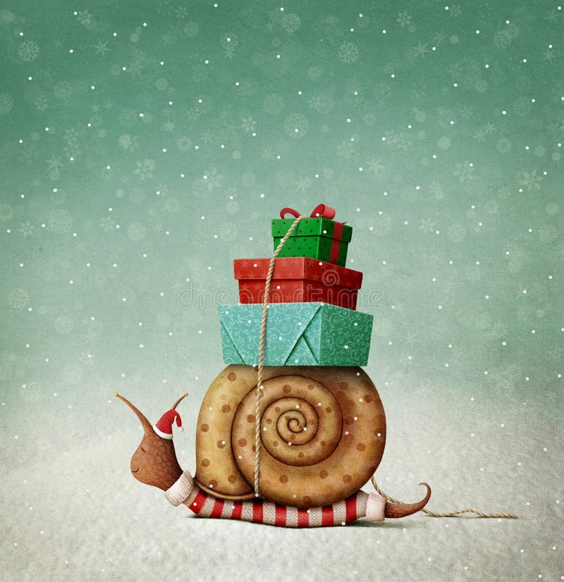 Christmas Snail and gifts. stock illustration