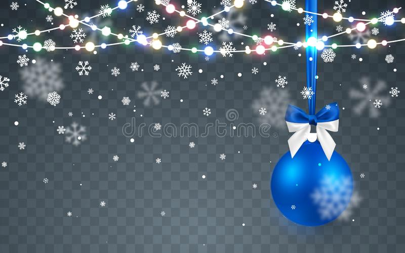 Christmas snow. Falling snowflakes on dark background. Snowfall. Christmas ball. Xmas Color garland, festive decorations. Glowing. Lights. Vector illustration royalty free illustration