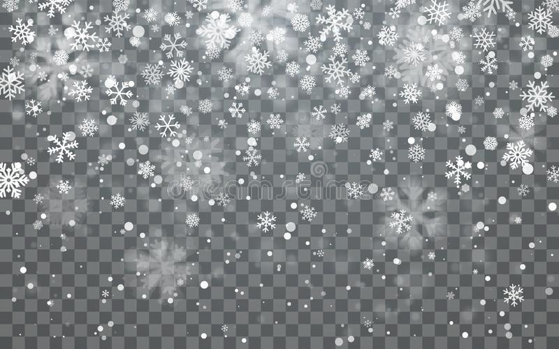 Christmas snow. Falling snowflakes on dark background. Snowfall. Vector illustration.  royalty free illustration